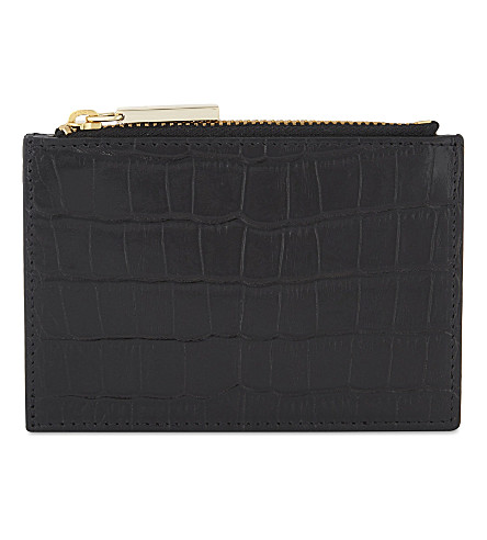 WHISTLES Croc-embossed leather coin purse (Black