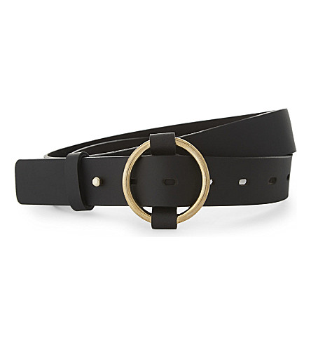 WHISTLES Ring buckle belt (Black