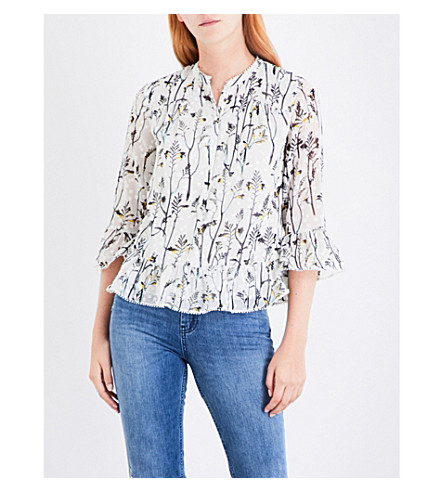 WHISTLES Wheatsheaf-print fil-coupe shirt (Green