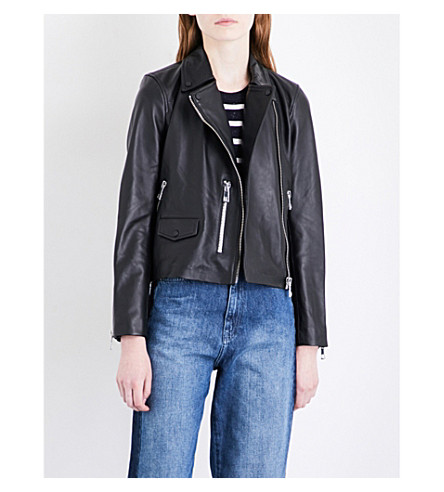 WHISTLES Agnes zipped cuff leather jacket (Black