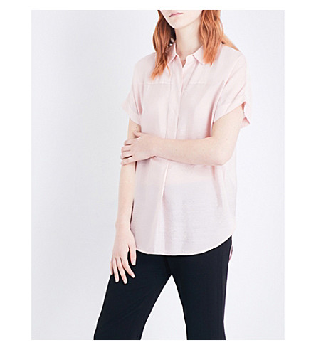 WHISTLES Ellen boxy-fit crepe shirt (Pink