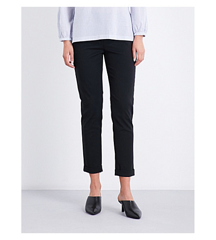 WHISTLES Sadie slim mid-rise cotton-blend trousers (Black