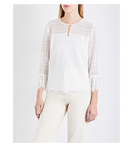 WHISTLES Marylou lace crepe-georgette top (Cream