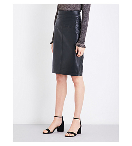 WHISTLES Kel high-rise leather skirt (Black
