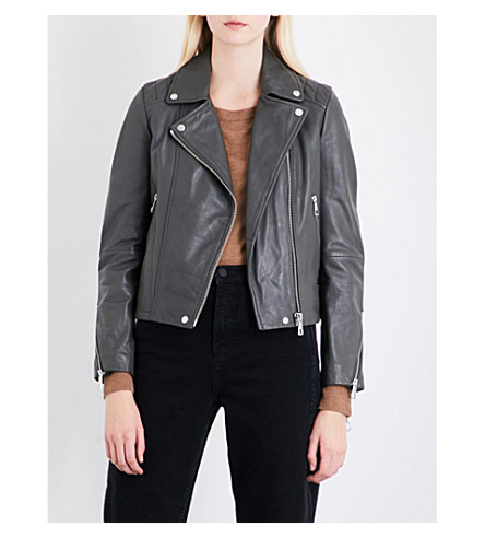 WHISTLES Bella quilted-detail leather biker jacket (Grey
