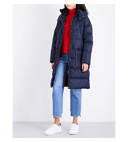 WHISTLES Longline shell padded coat (Navy