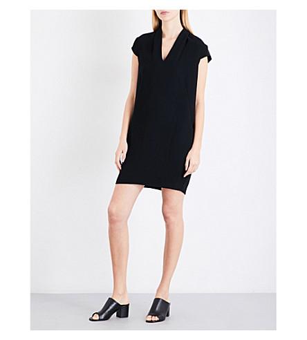 WHISTLES Paige V-neck crepe dress (Black