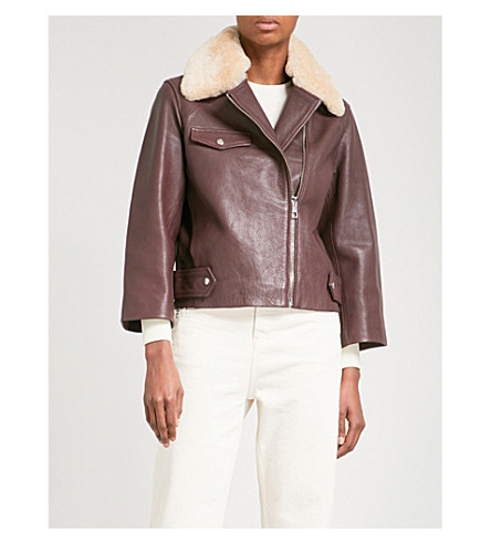 WHISTLES Eliza shearling-trimmed leather jacket (Plum/claret