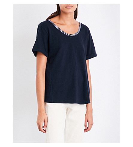 WHISTLES Cutout-detail cotton-jersey T-shirt (Navy