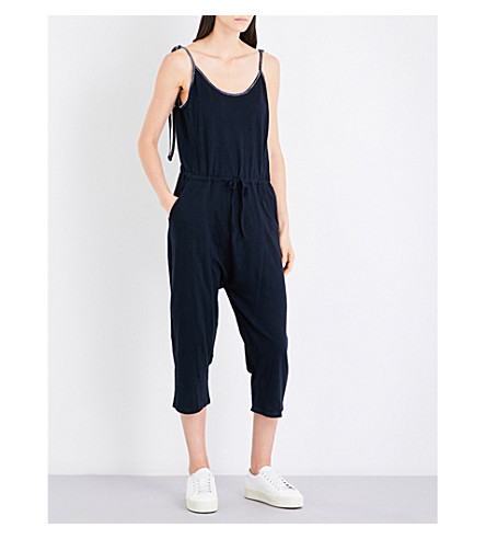 WHISTLES Sleeveless cotton-jersey jumpsuit (Navy