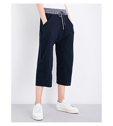 WHISTLES Wide cotton-jersey trousers (Navy