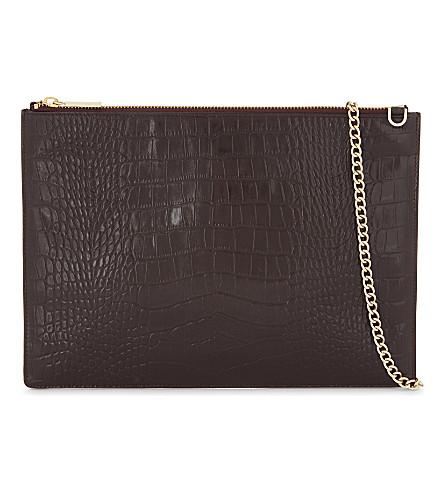 WHISTLES Crocodile-embossed leather cross-body bag (Multi-coloured