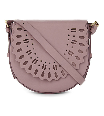 WHISTLES Limited leather laser-cut saddle bag (Pale+pink