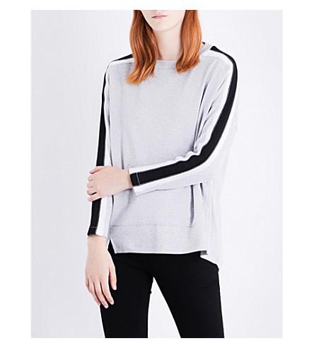 WHISTLES Stripe Detail Relaxed cotton-jersey sweatshirt (Grey
