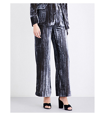 WHISTLES Crushed velvet wide trouser (Silver