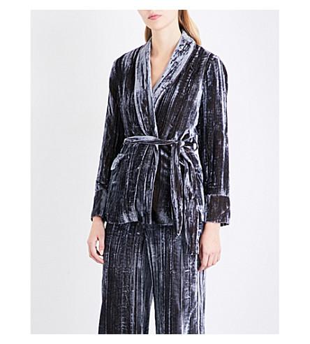 WHISTLES Crushed velvet wrap jacket (Silver