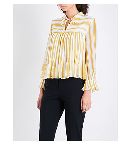 WHISTLES Flossy striped chiffon blouse (Multi-coloured