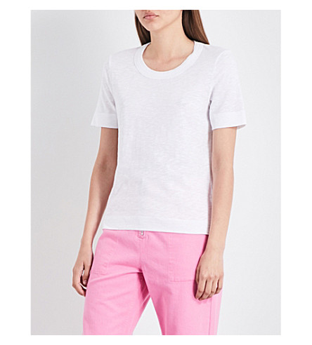 WHISTLES Rosa Double Trim cotton-jersey T-shirt (White
