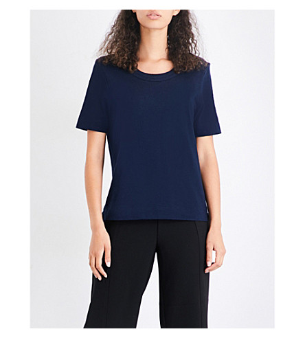WHISTLES Rosa double-trim cotton-jersey T-shirt (Navy