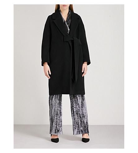 WHISTLES Magdelina belted wool-blend wrap coat (Black