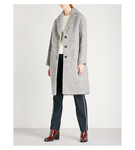 WHISTLES Slim Drawn bouclé coat (Grey