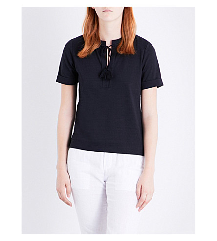 WHISTLES Tassel Tie cotton-blend T-shirt (Navy