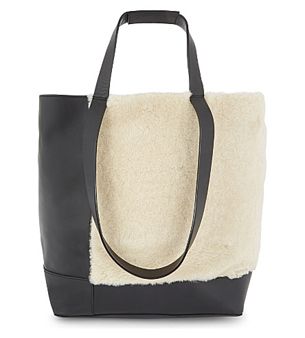 WHISTLES Hampson leather and shearling tote (Multi-coloured