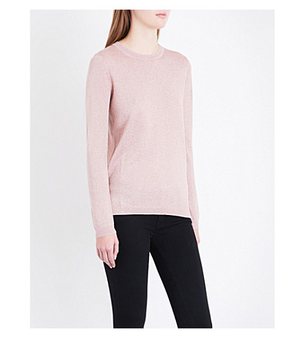 WHISTLES Stepped-hem metallic knitted jumper (Pale+pink