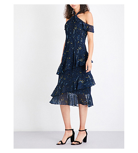 WHISTLES Wheatsheaf cold-shoulder fil-coup dress (Navy