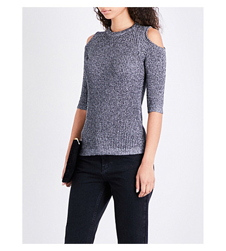 WHISTLES Cold-shoulder metallic-knitted jumper (Silver