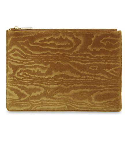 WHISTLES Woodcut velvet medium clutch bag (Yellow