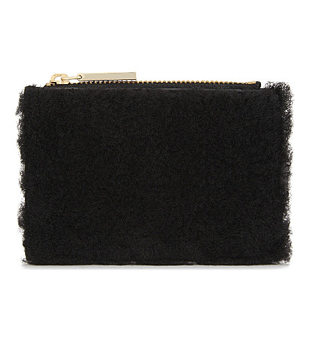 WHISTLES Shearling and leather coin purse (Black