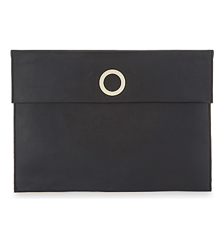 WHISTLES Willow leather clutch (Black