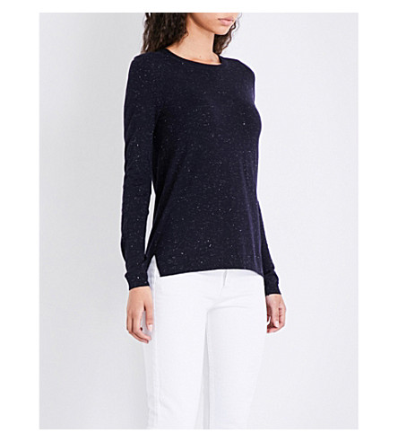 WHISTLES Annie metallic-knitted jumper (Navy