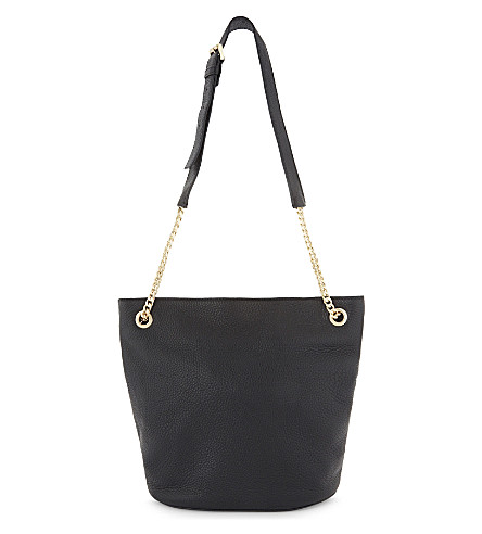 WHISTLES Sloan leather shoulder bag (Black