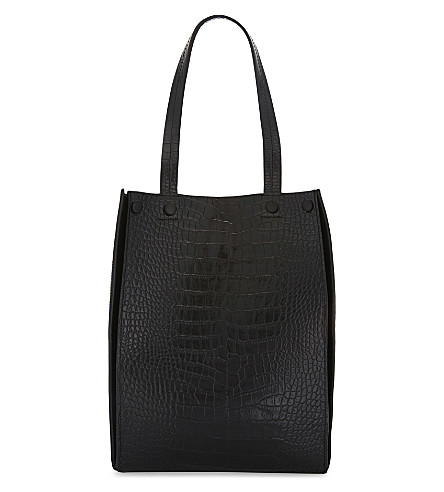 WHISTLES Croc suede mix leather tote bag (Black