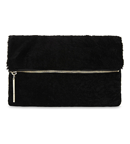 WHISTLES Shearling and leather foldover clutch (Black