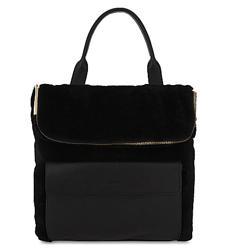 WHISTLES Verity shearling and leather backpack (Black