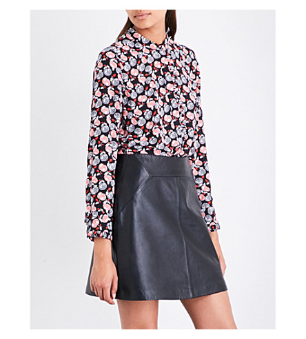 WHISTLES Apple-print crepe shirt (Multi-coloured