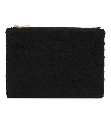 WHISTLES Shearling and leather medium clutch bag (Black