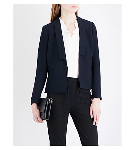 WHISTLES Tie-front crepe jacket (Navy
