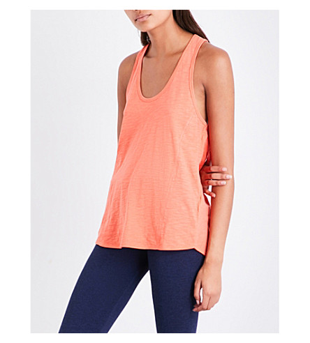 WHISTLES Racerback cotton-jersey vest top (Coral