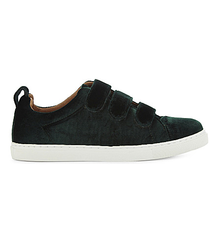 WHISTLES Aith velvet low-top trainers (Dark+green