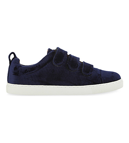 WHISTLES Aith velvet low-top trainers (Navy