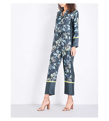 WHISTLES Lyle silk-twill jumpsuit (Multi-coloured