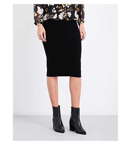 WHISTLES Ribbed wool and cashmere-blend skirt (Black
