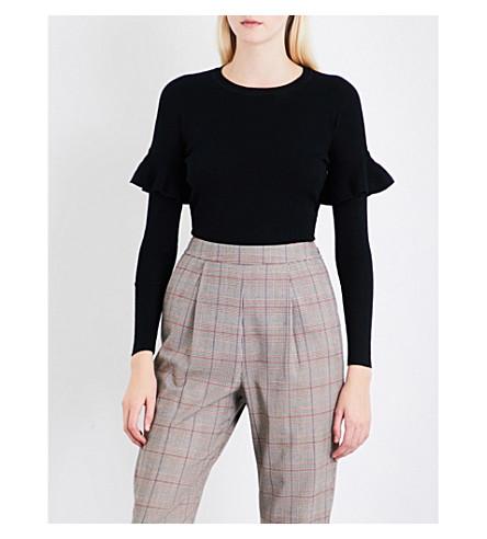 WHISTLES Frill Shoulder wool jumper (Black