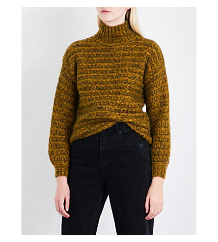 WHISTLES Turtleneck textured mohair-blend jumper (Yellow