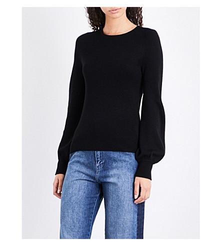 WHISTLES Puffed-sleeve wool jumper (Black