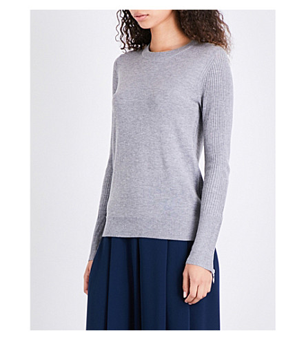 WHISTLES Crewenck wool-blend jumper (Grey